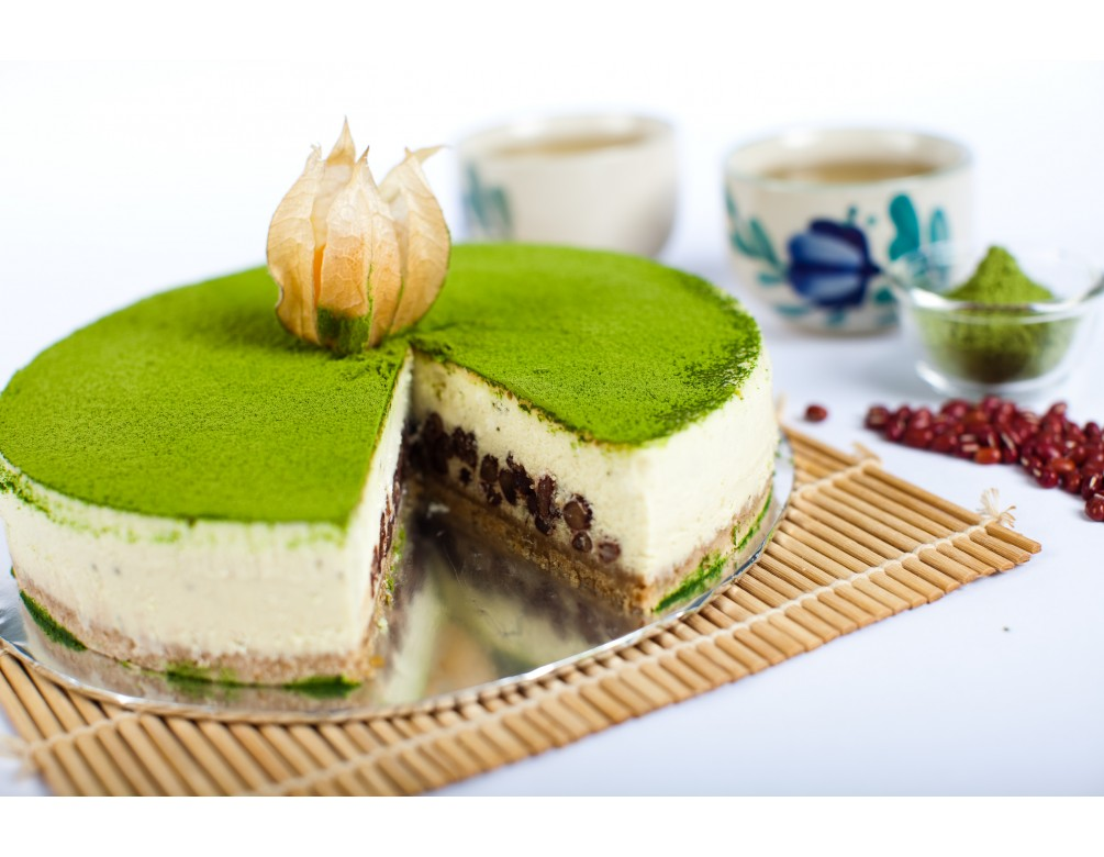 Rich Green Tea Baked Cheese Cake with Azuki Red Beans