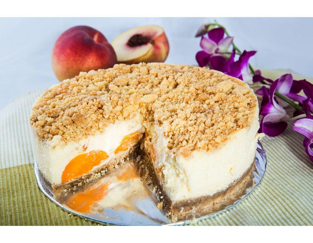 Rich Peach Crumble Baked Cheese Cake