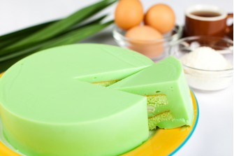Pandan Kaya Fudge Cake with Fresh Coconut Slices